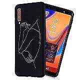 LeviDo Funda Compatible para Samsung Galaxy A7 2018 Silicona Bumper Caucho Caso TPU Delgado Goma Parachoque Antigolpes Negro Cover, Curva