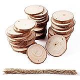 Aerwo 50pcs 2–2,5pouces en tranches de bois brut rond bois tranches DIY Craft rustique Mariage Décorations de sapin de Noël
