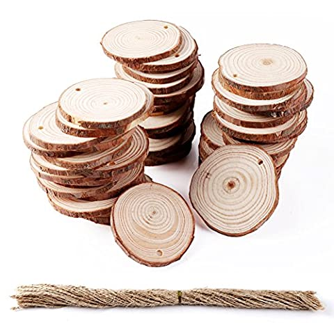 AerWo 50PCS 2-2.5in Wood Slices Unfinished Natural Round Wood Slices DIY Craft Rustic Wedding Decor Christmas Tree