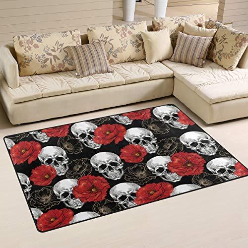 XiangHeFu Teppiche Fußmatten Schädel Blume Mohn Muster 5'x3'3