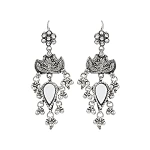 Kamna's Closet Silver Earrings With Mirror Work for Women
