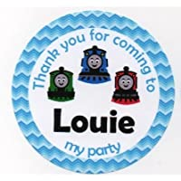 """Thomas the Tank Engine & Friends Design Birthday/Baby Shower/Christening """"Thank you for coming to..."""" Stickers - PERSONALISED A4 Sheet of 15 x 50mm Round Party Bag Stickers"""