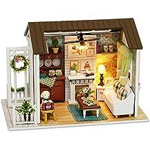 Decdeal DIY Casa de Madera Artesanal con Muebles y Luces LED,3D Mini Realista Casa