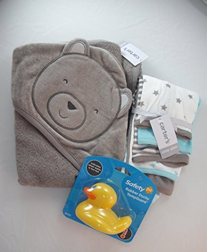 Baby-Gift-Bath-Bundle-3-Items-Carters-Grey-Bear-Hooded-Baby-Towel-Carters-GreyLight-BlueWhite-Baby-Washcloths-and-Safety-1st-Rubber-Ducky-Bath-TempGuard