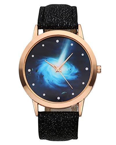 JSDDE Montre Femme Montre Bracelet Montre Quartz Mode Fashion Mouvement Quartz Ceinture en PU Analogique Cadran Noir Motif Pois Echelle de Temps Etoile Astre Univers Hébuleuse Galaxie, Noir