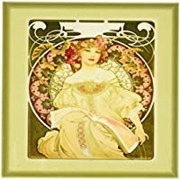 3DROSE CST _ 98596 _ 3 Muchas Art Nouveau painting of Pretty Lady with Flowers around Her.jp-ceramic tile sottobicchieri, set di 4 - Mucha Fiore