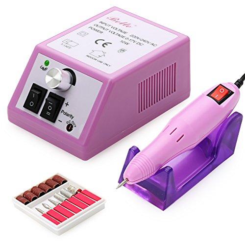 Outil de beauté: Belle 220V 20000RPM électrique l'ongle Drill Manucure Pédicure Fichier Kit avec Embouts ponçage Pink - Kit Ponceuse, prise EU De UK
