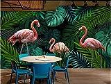 (400X300CM), alte Zeitung 3D tapete - Hand gezeichnet tropischen Regenwald Flamingo - Wallpaper Poster Wanddekoration von Bestwind