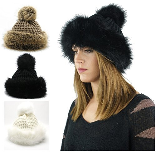 LADIES WOMENS FAUX FUR RUSSIAN FUR POM POM BEANIE STYLE COSSACK WINTER HAT