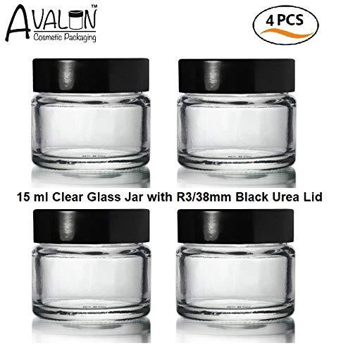 4x Stück - 15ml Klarglas Töpfe Mit Schwarzem Deckel. Geeignet für Lippen Balsame, Kräuter, Gewürze, Gesichtscreme, Salben Kerzen