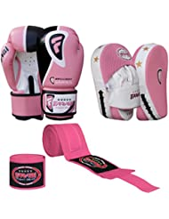Farabi Ladies Boxing Training Set Including Boxing Gloves Focus Pad with hand wrap for Boxing MMA Muay Thai Training Workout Gym Exercise Fight Combat Boxing Mitt