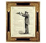 Jäger Gewehr Vögel Poster Kunstdruck auf antiker Buchseite Frieden Steampunk Western Mann Geschenk Bild ungerahmt