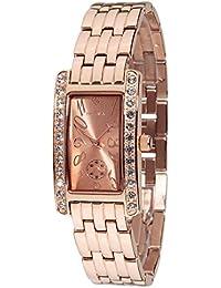 Yves Camani Damen-Armbanduhr Amance II mit rosegoldenem Edelstahl-Gehäuse und Zifferblatt. Elegante Quarz Damen-Uhr mit steinbesetzer Lünette und rosegoldenem vollmassivem Edelstahl-Armband.
