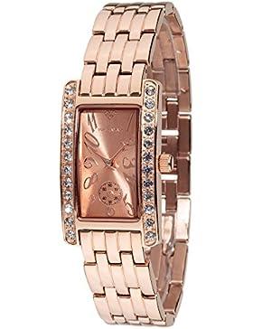 Yves Camani Damen-Armbanduhr Amance II mit rosegoldenem Edelstahl-Gehäuse und Zifferblatt. Elegante Quarz Damen-Uhr...