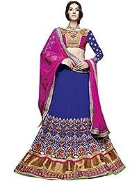 Manish Creation Women's Faux Georgette Lehenga Choli(Manish-Creation_Fairytale_5003_Royal Blue Free Size)