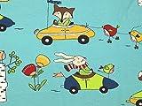 Tiere in Cars Print Stretch Jersey Knit Kleid Stoff, Meterware, Türkis