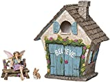 #8: Joykick Fairy Garden House Kit - Hand Painted with Opening Doors and Miniature Fairy Figurine with Accessories - Indoor Outdoor Set of 4 pcs for Home Or Lawn Decor