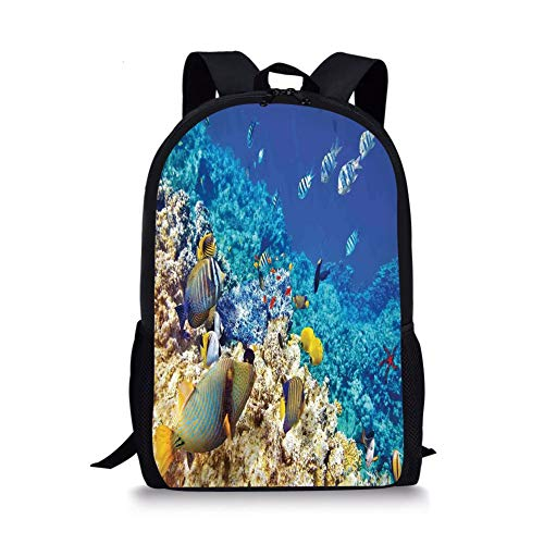 School Bags Ocean,Clear Sea Animal World Corals Tropical Fishes and Starfish Egyptian Sea Image,Aqua Blue and Tan for Boys&Girls Mens Sport Daypack