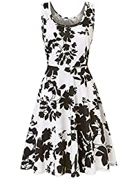 4f4d5ca470c Three Quarter Sleeve Printing Floral Dress for Women A Line Casual Dress  Party Dress for Girls