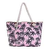 Große Strandtasche wasserabweisend mit Reißverschluss Palmen pink