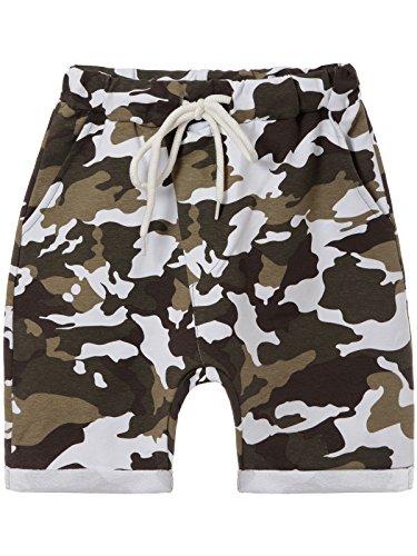 BEZLIT Jungen Kurze Baggy Capri Hose Stoff Shorts in Camouflage Made in Italy 22718, Farbe:Weiß, Größe:152