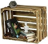 LAUBLUST Sehr Große Vintage Holzkiste - 50x40x30cm, Geflammt, Unbenutzt | Möbel-Kiste | Wein-Kiste | Obst-Kiste | Apfel-Kiste | Deko-Kiste aus Holz