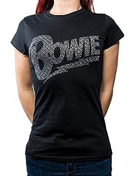 Rockoff Trade David Bowie Flash Logo Diamante, Camiseta para Mujer