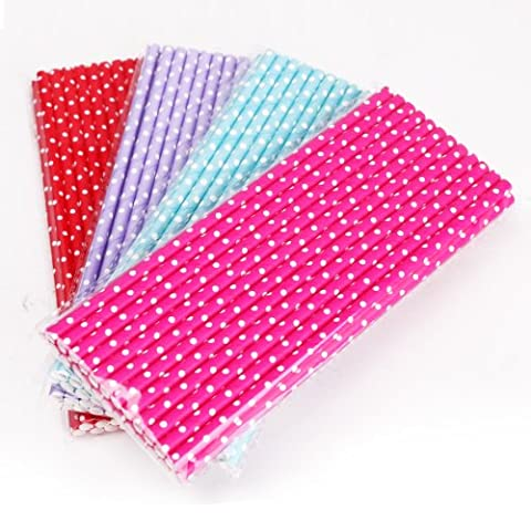 100x 4 colors Pink Red Blue Purple Polka Dot Paper