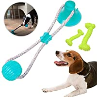 LAOZHOU Dog Chew Toys for Aggressive Chewers Puppy Dog Training Treats Teething Rope Suction Cup Dog Toy for Dog Puzzle Treat Food Boredom Dispensing Ball Toys Puppies Teething (Green)