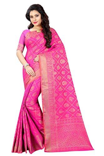 Vrati Fashion Women's Banarasi Silk Rani Saree With Blouse Piece(BB-PATOLA-RANI)