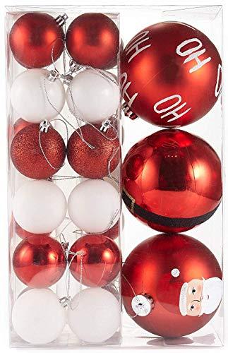 HEITMANN DECO Noël - Set de 29 Boules de Sapin de Noël 5/6/11 cm avec Père Noël - Décoration de Noël Rouge Blanc Brillant à Suspendre - Boules en Plastique pour Arbre de Noël HoHoHo