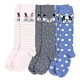 TupTam Mädchen Kniestrümpfe Knielang Socken 3er Pack, Farbe: Farbenmix 2, Größe: 23-26