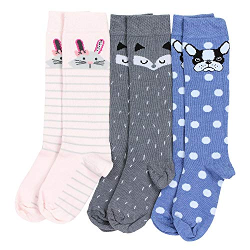 TupTam Mädchen Kniestrümpfe Knielang Socken 3er Pack, Farbe: Farbenmix 2, Größe: 23-26 -