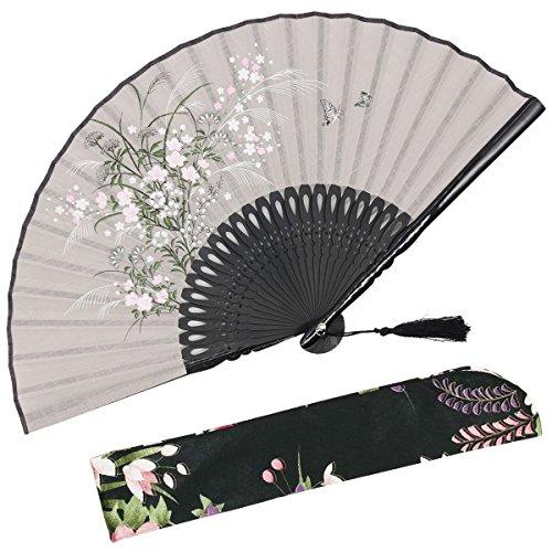 r', Faltbarer Handfächer für Frauen. Japanischer/ Chinesischer Retrostil. Mit Schutzbeutel aus Stoff. grau ()