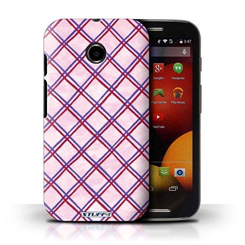 Kobalt® Imprimé Etui / Coque pour Motorola Moto E (2014) / Jaune conception / Série Motif Entrecroisé Violet/Rouge