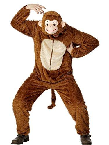 Kostüm Plüsch Affe Kleinkind - Tier-Kostüm für Kinder - Plüsch Einteiler Overall Jumpsuit Pyjama Schlafanzug - viele Tiere zur Auswahl (Kinder 110 für Hohe 100-109cm, AFFE)