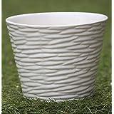 CAPPL White Ribbed Ceramic Planter