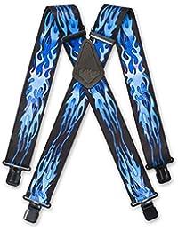 """Brimarc Mens Heavy Duty Blue Flames Braces Trouser Belt Suspender 2"""" 50mm Wide"""