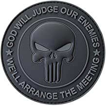 ALL BLACK GOD WILL JUDGE OUR ENEMIES Punisher Crâne Subdued DEVGRU Marine Navy Seals PVC Fastener Écusson Patch