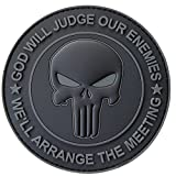ALL BLACK GOD WILL JUDGE OUR ENEMIES Punitore Punisher Cranio Subdued DEVGRU Marina Navy Seals PVC Hook-and-Loop Toppa Patch