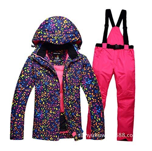 DOUSPORT Damen Skianzug Set Winddicht Wasserdicht Warm Outdoor Sportbekleidung Abnehmbar Skijacken Und Hosen, S | 06927349610582