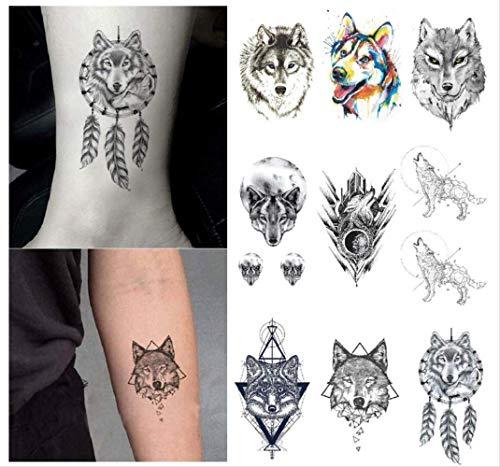yyyDL 3D Wolf Tattoo Aufkleber Wasserdicht Temporäre Gefälschte Tätowierung Wilde Tiere Hand Arm Jungen Männer Kinder Körperkunst Bilden Werkzeuge 10,5X6 cm 9 stücke (Kind Der Wilden Katze Kostüm)