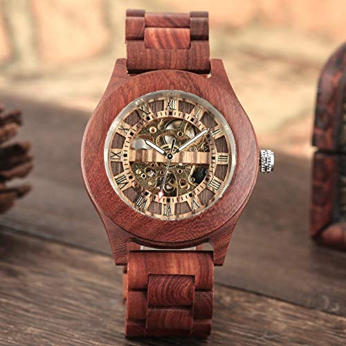 QMTFC Vintage Red Sandalwood Watch, Automatic Mechanical Watch for Men, Roman Numeral dial, Single Wristwatch with Full Wooden Band for Men