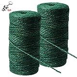 nuoshen Jute-Seil für den Garten, aus Jute, natürlich, Hanfseil, für Gartenarbeit, Floristik, Bündeln, Handwerk, 2 Rollen