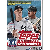 2019 Topps Baseball Series #1 Blaster Box with 98 Cards PLUS an EXCLUSIVE 150 Years Commemorative MLB PATCH Card