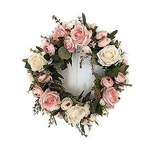 Guirnalda LinTimes hecha a mano con flores artificiales para decoración de la puerta de la casa durante la boda.