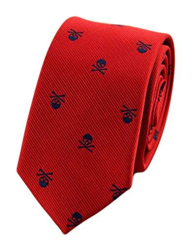 MENDENG Krawatte mit Totenkopf-Motiv, Blau/Violett - Rot - Einheitsgröße