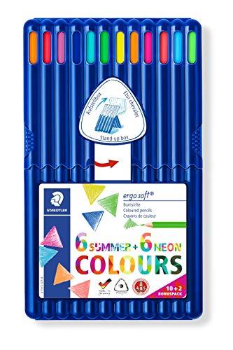 Staedtler Buntstifte Ergosoft, erhöhte Bruchfestigkeit, Ergonomisches Dreikantformat, Soft-Oberfläche, Set mit 12 brillanten Farben, Sommer- und Neonfarben, Promotion 10+2, Box, 157 SB12P3