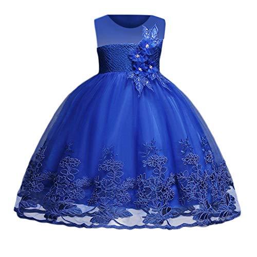 Kinder Mädchen Elegante Kleider, Hochzeit Prinzessin Pettiskirt Blume Stickerei Pageant Kleid Party Brautjungfer Kleid Karneval Ostern Rock (2-8 T)(Blau,130)