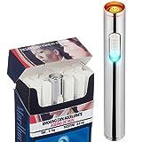 Auratrio Mini USB Elektronisches Feuerzeug Stabfeuerzeug Aufladbar Winddicht - Kein Gas oder Benzin, Weiß